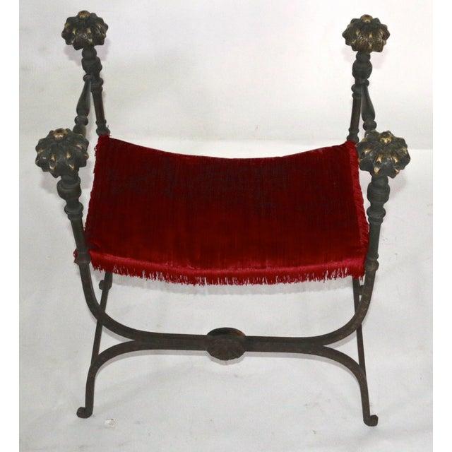 Early 19th Century Large Iron and Bronze Savonarola Faldistorio Curule Bench For Sale - Image 5 of 7
