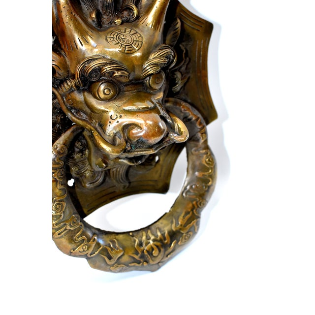 Vintage Medium Asian Dragon Door Knockers- a Pair For Sale - Image 11 of 13