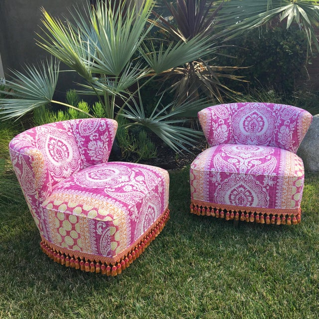 Green Mid-Century Modern Block Print Pattern Swivel Slipper Chairs - a Pair For Sale - Image 8 of 8
