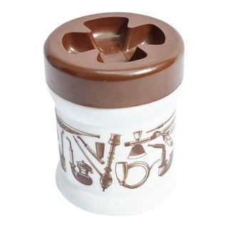 White Ceramic Tobacco Container With Brown Plastic Lid