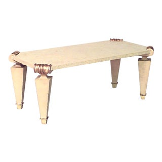 French 1940s Rectangular Ormolu and Travertine Marble Coffee Table For Sale
