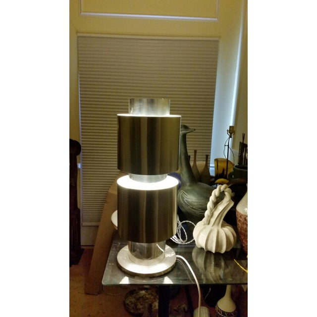 Stainless Steel Table Lamp Attributed to Willy Rizzo For Sale - Image 9 of 10