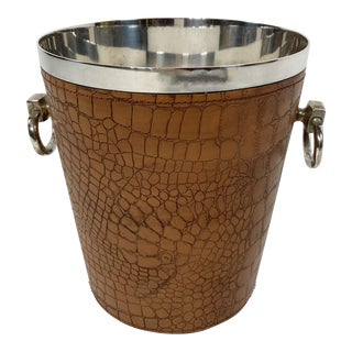Silver Champagne or Ice Bucket W/ Croc Skin Leather For Sale
