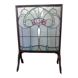 1900s Victorian Stain Glass Fire Screen