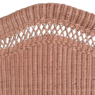 1970s Shabby Chic Painted Pinkish Twin Wicker/Rattan Headboards - a Pair Preview