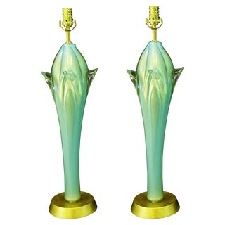 Aquamarine Murano Glass Table Lamps Italian Venetian Mid-Century Modern MCM Blue Green Italy- a Pair Millennial