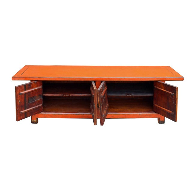 Chinese Distressed Orange Blue Low TV Console For Sale - Image 5 of 6