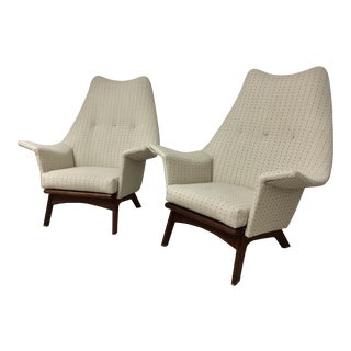 Summer Sale!!! Adrian Pearsall High Wingback Lounge Chairs Vintage- a Pair For Sale