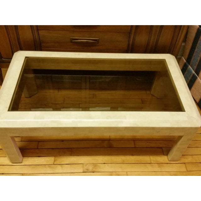 1970s Maitland-Smith Tessellated Stone Coffee Table For Sale - Image 5 of 10