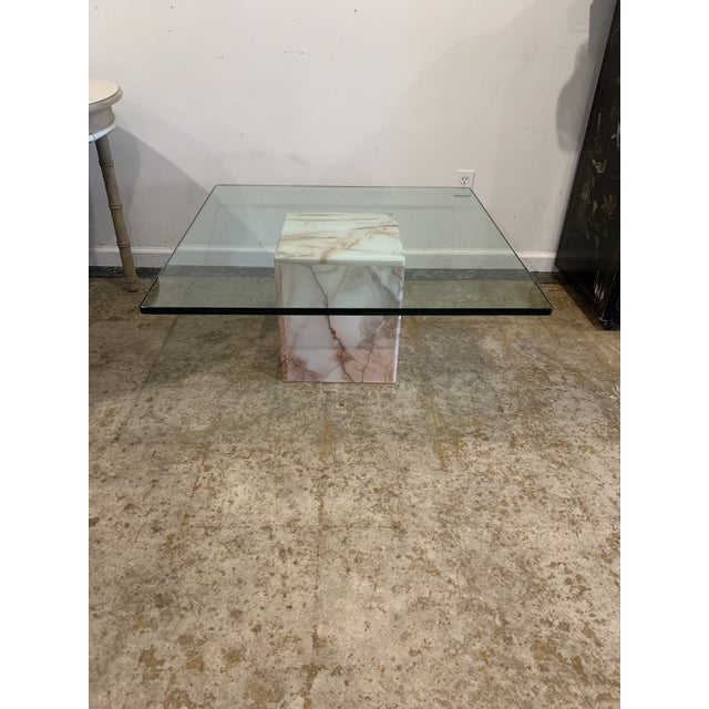 1970s Glass and Pink Marble Coffee Table For Sale - Image 9 of 9