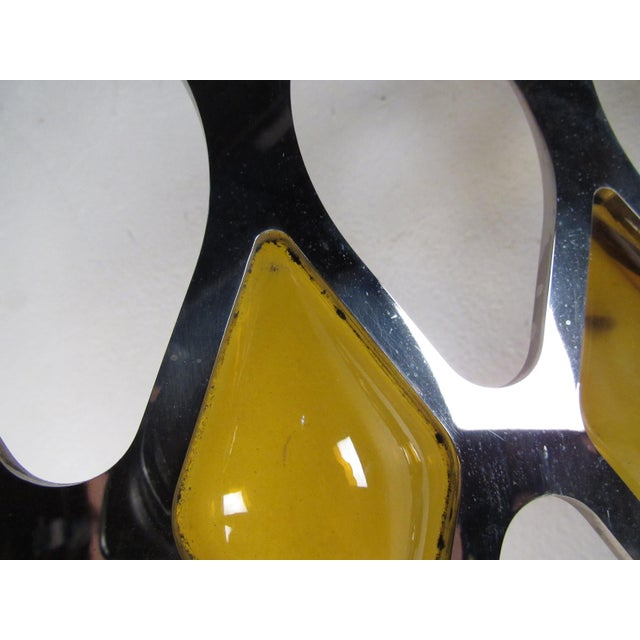Large Mid-Century Chrome and Amber Blown Glass Mirror For Sale In New York - Image 6 of 8