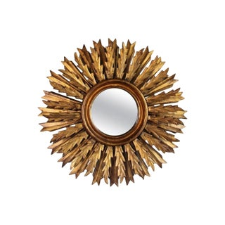 Mid-Century French Double Layer Sunburst Mirror With Original Mirror Glass For Sale