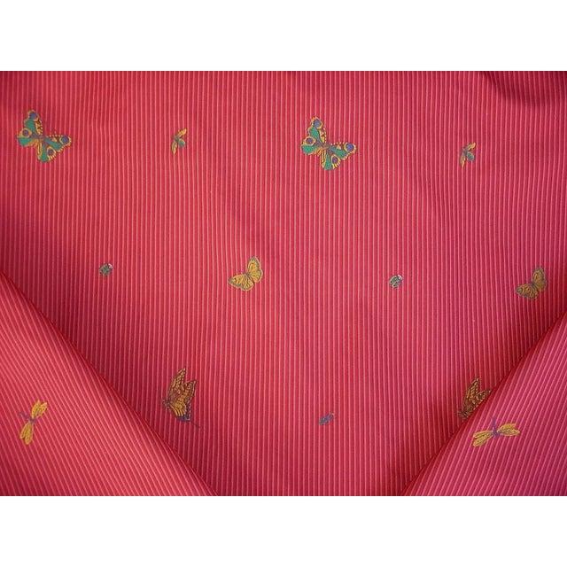 Transitional Lee Jofa Farfalla Stripe Cherry Butterfly Bee Brocade Upholstery Fabric - 13-5/8y For Sale