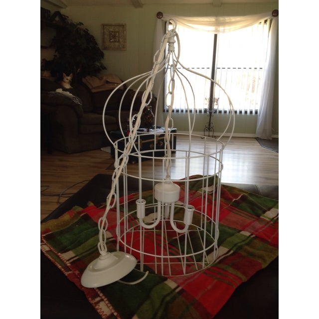 White Birdcage 3 Light Chandelier With Antique Glass Prisms - Image 3 of 9
