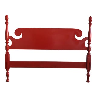 Vintage Red Lacquered English Headboard