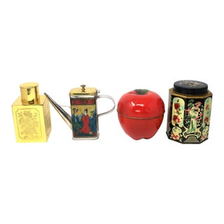 Vintage Collection of Tea/Herb/Tobacco Tins With One Square Brass Engraved Tea Jar For Sale