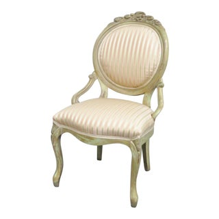 Victorian Style Paint Distressed Side Chair For Sale