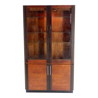 Vintage Mid Century Baughman Style Walnut and Rosewood Vitrine Display Cabinet For Sale