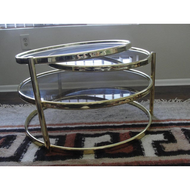 Gold Milo Baughman Smoked Glass Swivel Table For Sale - Image 8 of 8