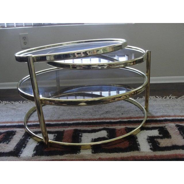 Milo Baughman Smoked Glass Swivel Table - Image 8 of 8