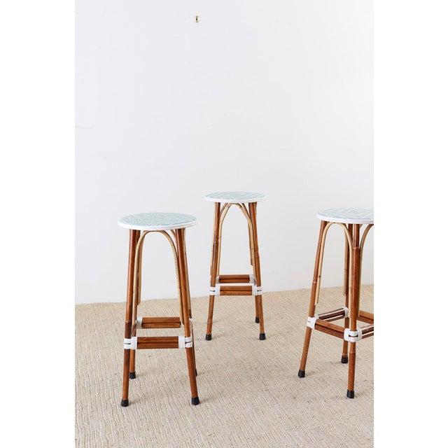 White Set of Three Maison Gatti Rattan French Bistro Barstools For Sale - Image 8 of 13