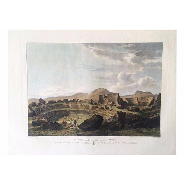 Ancient Spanish Theater Ruins, Antique Color Engraving - Image 1 of 6