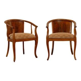 Beautiful Pair of Art Deco Burl Walnut Barrel Back Armchairs For Sale