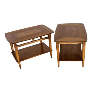 Lane Mid-Century Modern Walnut End Tables with Inlaid Tops - A Pair For Sale