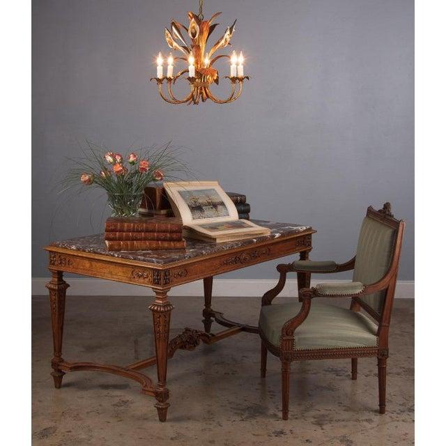 1950s French Gilded Metal Chandelier For Sale - Image 10 of 13