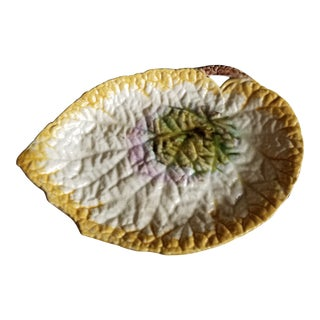 Large Antique Majolica Leaf Platter For Sale