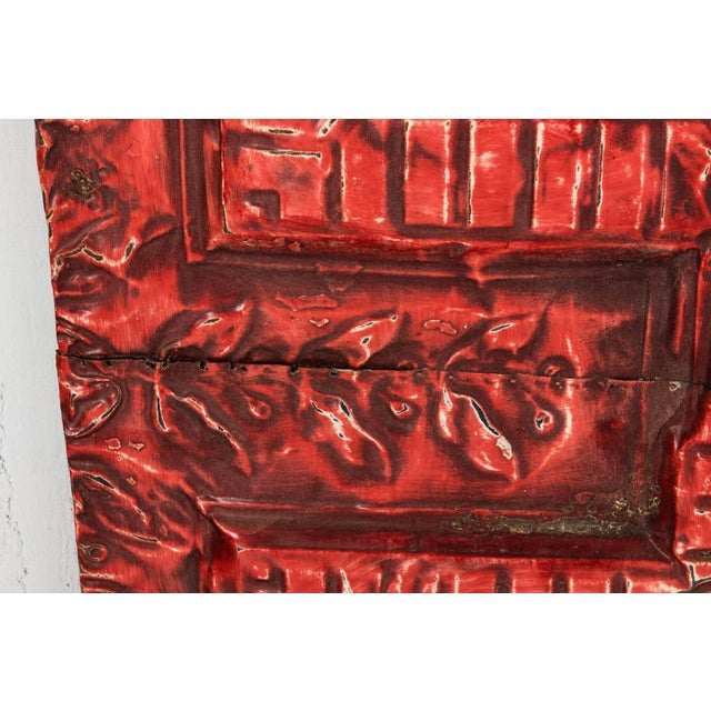 Red Tin Ceiling Panel For Sale - Image 8 of 13