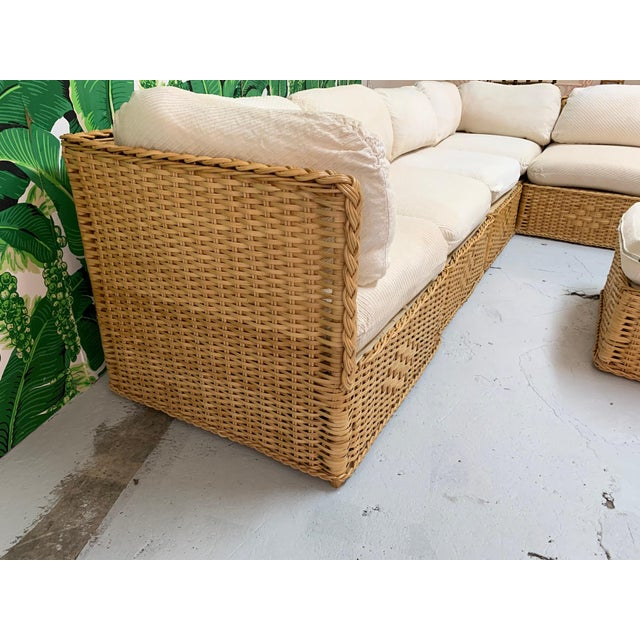 1970s Seven Piece Wicker Sectional Sofa in the Manner of Michael Taylor For Sale - Image 5 of 9