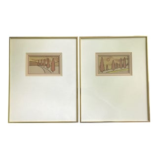Vintage Harris Strong Abstract Tree Ceramic Tile Wall Hangings, Cedar I and II - a Pair For Sale