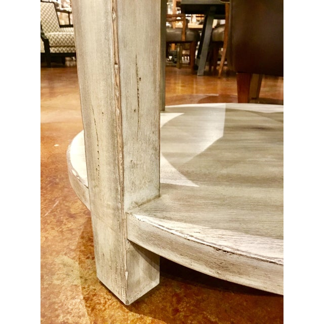 Wood Drexel Heritage Modern Off-White Antique Wood & Stone Top Round Jule End Table For Sale - Image 7 of 7