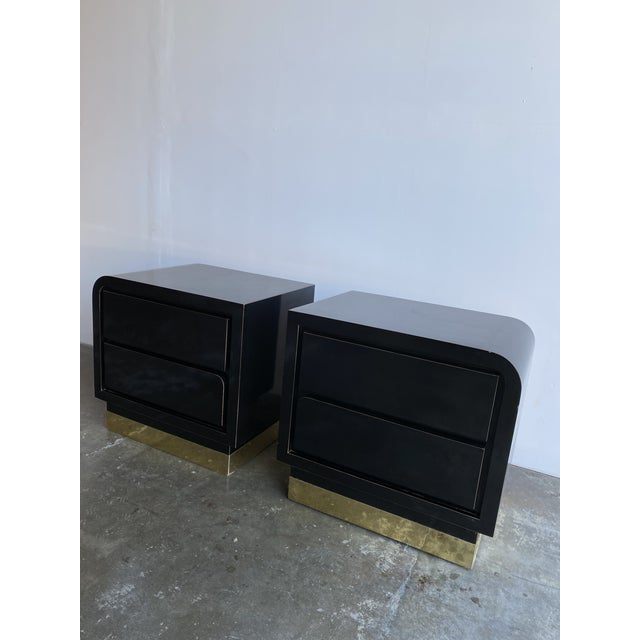 1980s Black Laqcuer and Brass Nighstands-a Pair For Sale - Image 9 of 12