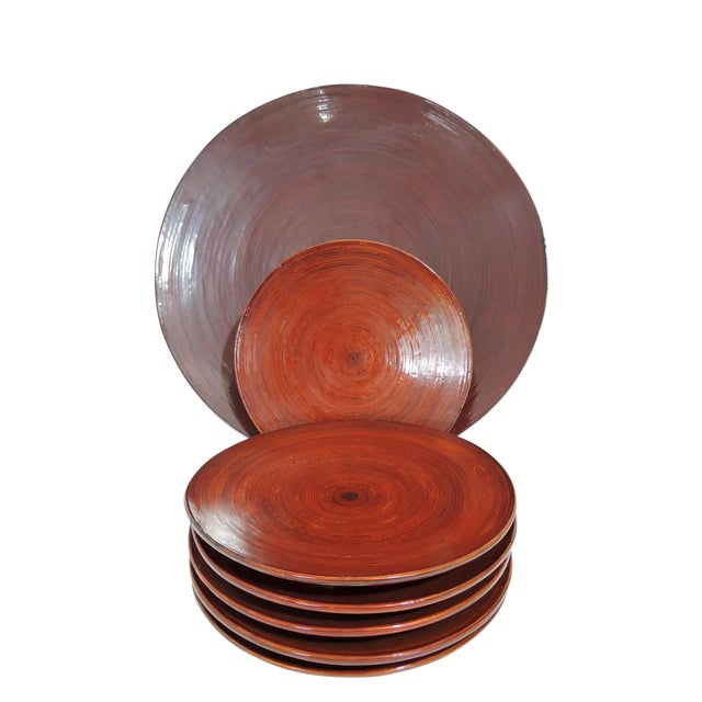 Vintage Burmese Red Lacquer & Bamboo Plates and Charger - Set of 7 For Sale