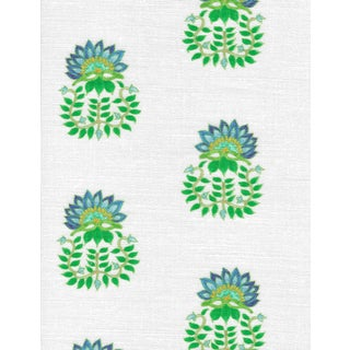 Ferran Gazania Fabric, 2 Yards, Lapis in Linen/Cotton For Sale