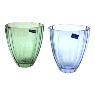 Villeroy & Boch Modern Style Glass Vases in Blue and Green - a Pair For Sale