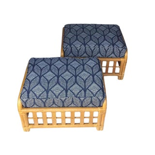 1970s Vintage Oversized Bamboo Ottomans Low Stools - a Pair For Sale