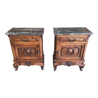 20th Century Italian Nightstands Solid Walnut With Marble Tops - a Pair