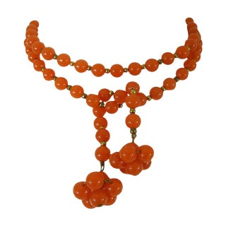 1940s Art Deco Baltic Amber Long Lariat Necklace
