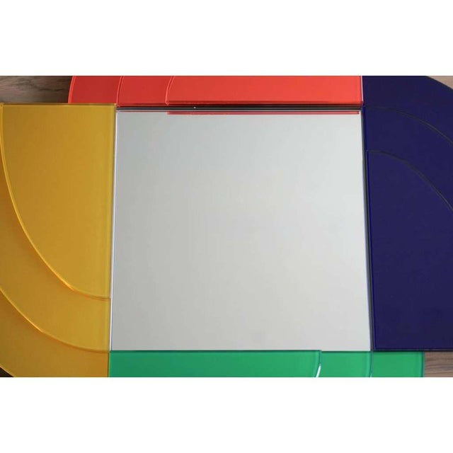2000 - 2009 2007 Sottsass Postmodernism Mirror in Green Blue Yellow Pink for Glas Italia For Sale - Image 5 of 12