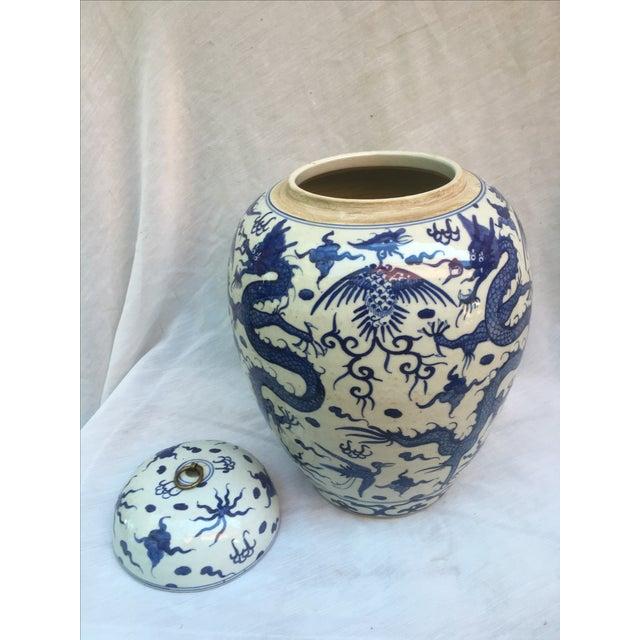 Blue & White Porcelain Dragon Altar Urn - Image 6 of 9
