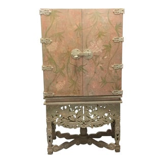 Asian Style Floral Carved Frame Armoire Chest Wardrobe For Sale
