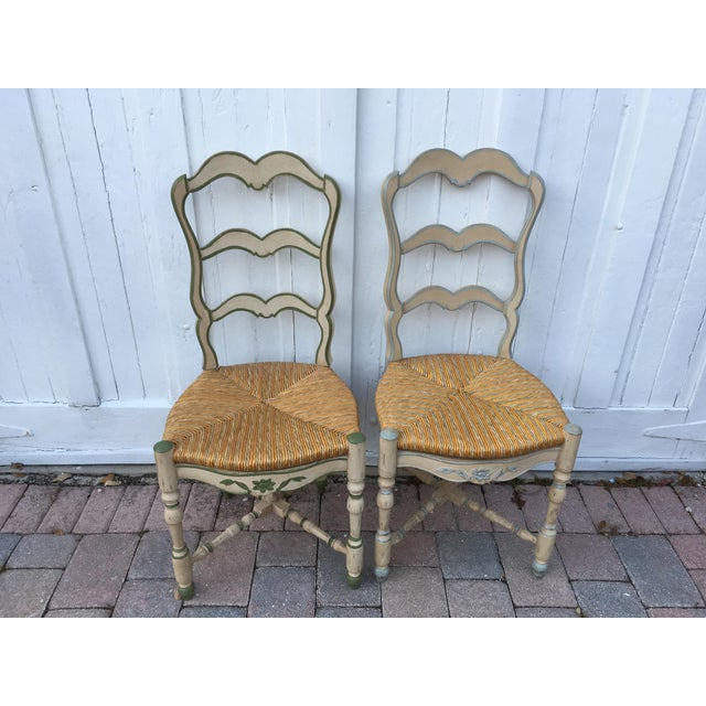 Brown French Ladderback Chairs - A Pair For Sale - Image 8 of 8