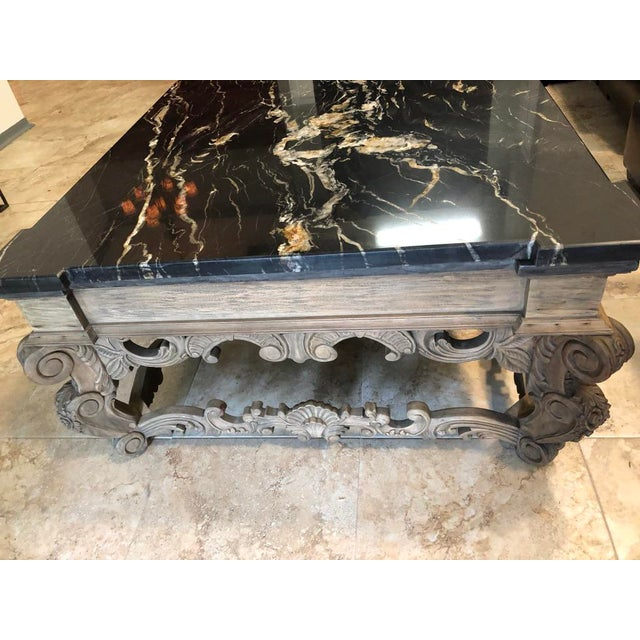 Wood 1960s Traditional Coffee Table With Marble Top For Sale - Image 7 of 9