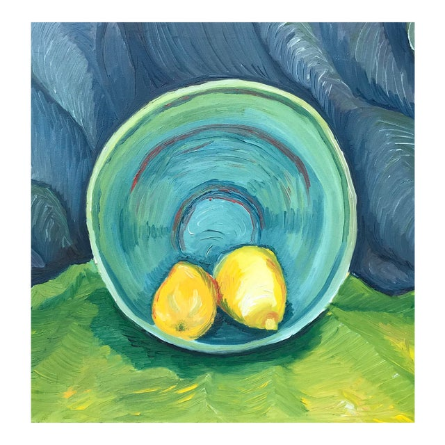 1990s Impressionist Still Life Painting of Lemons a Bowl For Sale