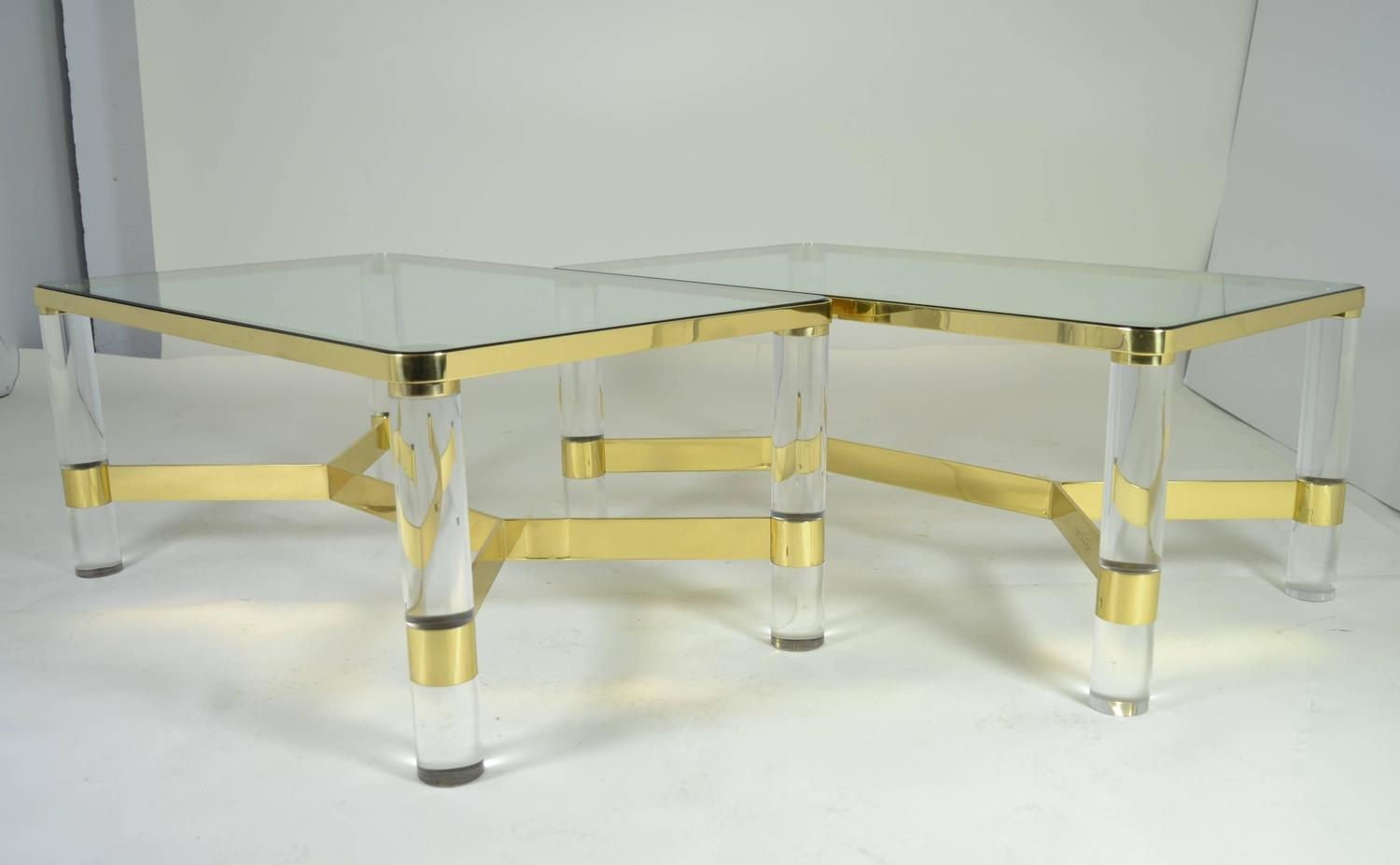 1980s Karl Springer Brass And Lucite Cocktail Table For Sale   Image 5 Of 10