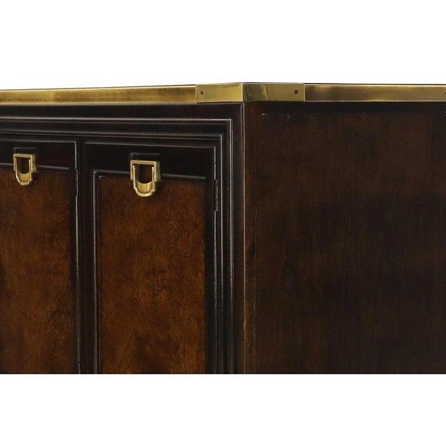 Mastercraft Solid Brass Trim Burl Wood Credenza Server Cabinet Extra Long Dresser For Sale - Image 4 of 10