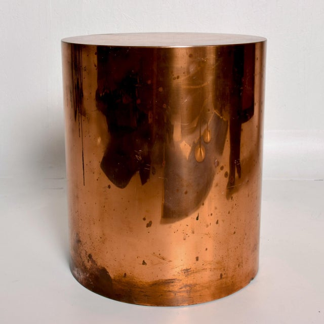 Copper 1970s Mid Century Modern Cylinder Drum Side Table For Sale - Image 8 of 8